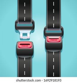 Konzept der Straßenverkehrssicherheit mit Sicherheitsgurten in Form einer Autobahn.