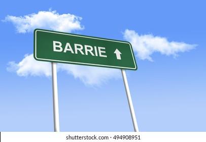 Road sign - Barrie. Green road sign (signpost) on blue sky background. (3D-Illustration)