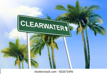 Road sign - Clearwater. Green road sign (signpost) on blue sky background. (3D-Illustration)