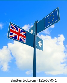 Road sign with the flags of the European Union and the United Kingdom, depicting the Brexit concept.