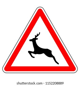 road sign in France: Beware of wild animals  - triangular isolated sign for wild animals   - wild animals  Warning sign red