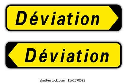 road sign in France: bypass - detour - diversion