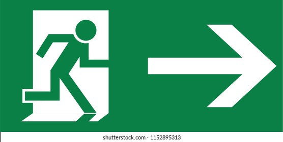 road sign in France: Emergency exit and evacuation signs