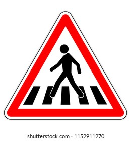road sign in France and Germany : Pedestrian crossing
