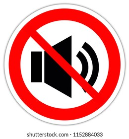 road sign in France: The no sound icon - Volume Off symbol - Not allowed music sign