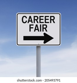 A road sign indicating Career Fair