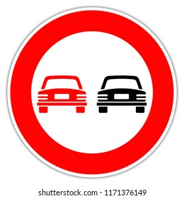 Road sign in Italy: prohibition of doubling - unauthorized overtaking