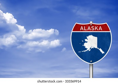 Road sign with the map of Alaska