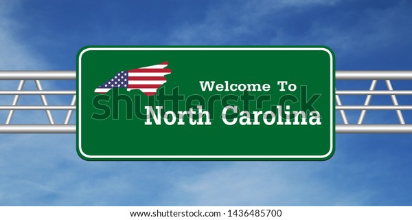 Road Sign Map Welcome North Carolina Stock Image | Download Now