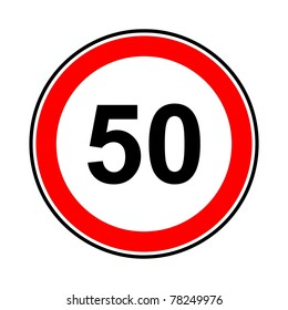 Road sign of the maximum speed limitation in the urban zone