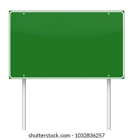 Road sign on white