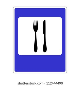 road sign with a picture of cutlery
