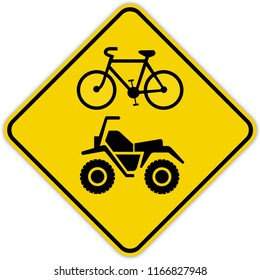 road sign in Quebec and Canada:  Bicycles and ATVs Guide and information road sign in Quebec, Canada