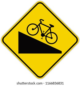 road sign in Quebec and Canada:  climb grade for cyclists Guide and information road sign in Quebec, Canada