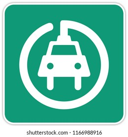 road sign in Quebec and Canada: : gas station with plug for electric cars (electric car charger) Guide and information road sign in Quebec, Canada