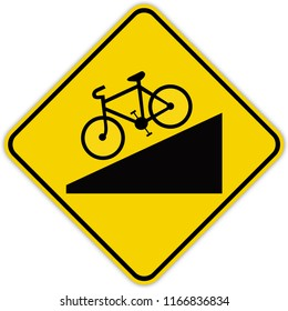 road sign in Quebec and Canada: Steep grade for cyclists Guide and information road sign in Quebec, Canada