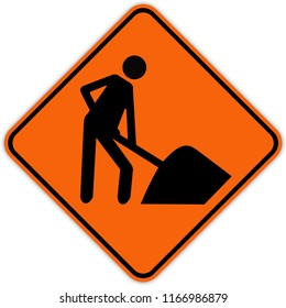 road sign in Quebec and Canada: Workers in road ahead Guide and information road sign in Quebec, Canada