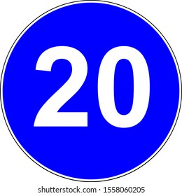 Road sign with suggested speed of 20 km/h