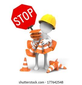 Road sign -Traffic cones
