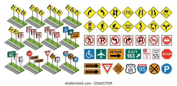 Road signs set flat and isometric, illustration isolated on white