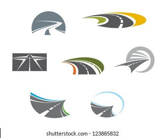 Road symbols and pictograms for transportation design, such as idea of logo. Vector version also available in gallery