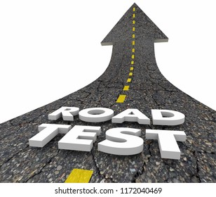 Road Test Driving Exam Evaluation Road Word 3d Illustration