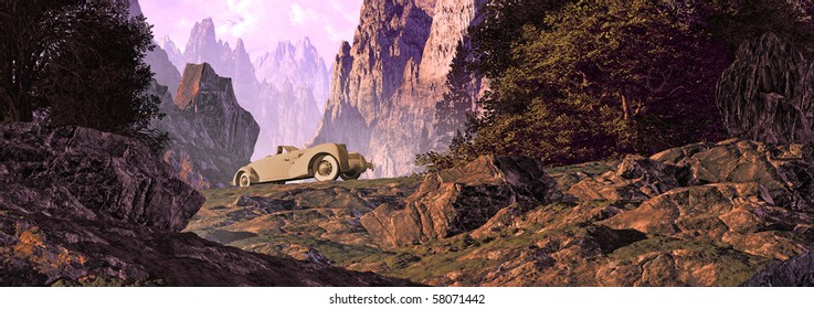 A road trip in a 1936 classic Cord automobile in the Swiss alps.