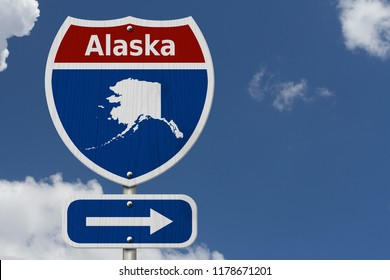 Road trip to Alaska, Red, white and blue interstate highway road sign with word Alaska and map of Alaska with sky background 3D Illustration