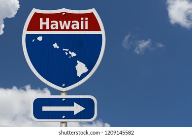 Road trip to Hawaii, Red, white and blue interstate highway road sign with word Hawaii and map of Hawaii with sky background 3D Illustration