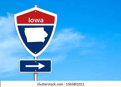 Road trip to Iowa, Red, white and blue interstate highway road sign with word Iowa and map of Iowa with sky background