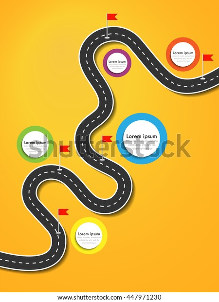 Road trip and Journey route. Business and Journey Infographic Design Template with flags and place for your data. Winding road on a colorful background. Stylish streamers