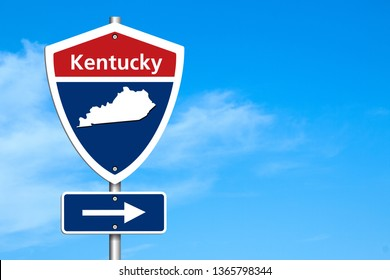 Road trip to Kentucky, Red, white and blue interstate highway road sign with word Kentucky and map of Kentucky with sky background