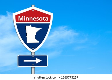 Road trip to Minnesota, Red, white and blue interstate highway road sign with word Minnesota and map of Minnesota with sky background