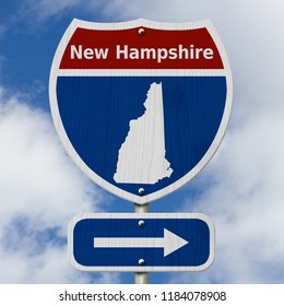 Road trip to New Hampshire, Red, white and blue interstate highway road sign with word New Hampshire and map of New Hampshire with sky background 3D Illustration