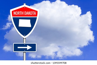 Road trip to North Dakota, Red, white and blue interstate highway road sign with word North Dakota and map of North Dakota with sky background