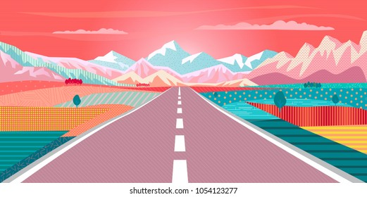 Road trip to Rocky mountains exotic paradise landscape, rural fields, rugged mountains. Summer sunset sky painting poster california, hawaii, mexico, campgrounds, Adventure in nature, Traveling voyage