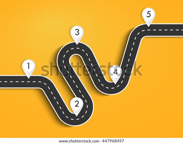 Road way location infographic template. Winding road on a colorful background. Road for the journey. Infographics for the journey. Stylish streamers