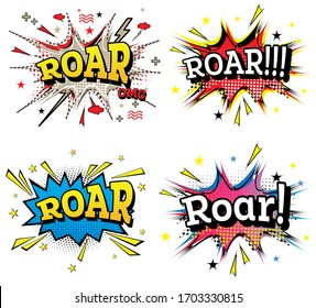Roar Comic Text Set in Pop Art Style Isolated on White Background.