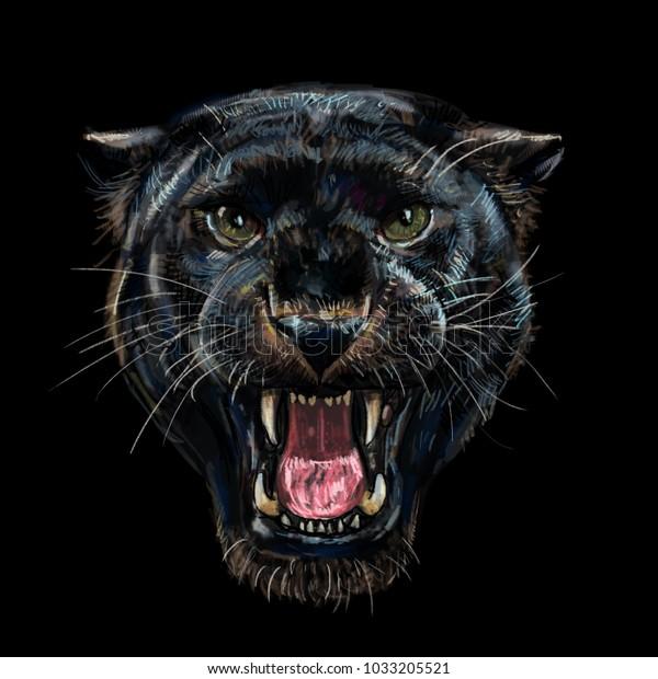 Roaring black panther on black background,digital painting