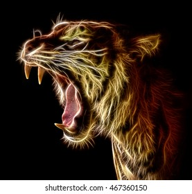 Roaring Fractal Tiger isolated on a black background