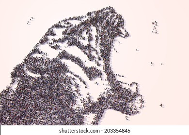 Roaring tiger drawn from people seen from above.