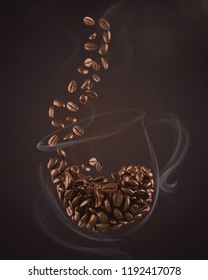Roasted coffee bean spilling form Smoke in the shape of cup 3d illustration.