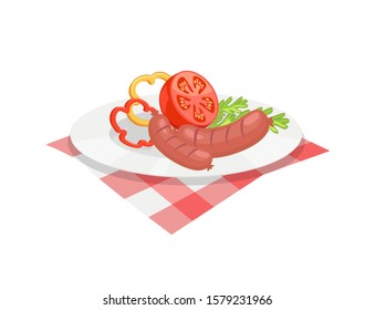 Roasted sausages served on plate. Wurst with sliced pepper rings half tomato herbs. Barbecue bratwurst with vegetables veggies isolated icon raster