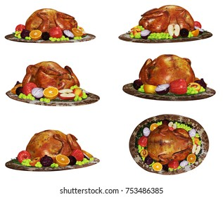 Roasted Turkey Dinner 3D Illustration