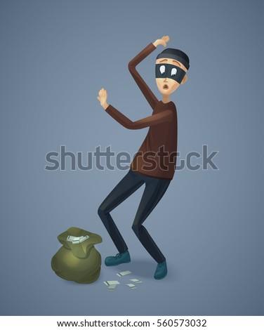 Robber Captured Stolen Money Burglar Bag Stock Illustration
