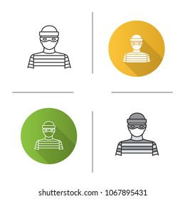 Robber icon. Flat design, linear and color styles. Thief. Housebreaker. Isolated raster illustrations
