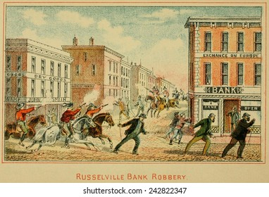 The robbery of Southern Deposit Bank in Russellville, Kentucky, of $12,000 on March 20, 1868 has been attributed to Jesse James and the Younger Brothers gangs.