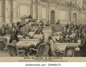Robert B. Elliott (1842-1884), of South Carolina, delivered a speech for an 1874 Civil Rights Act, in the US House of Representatives.