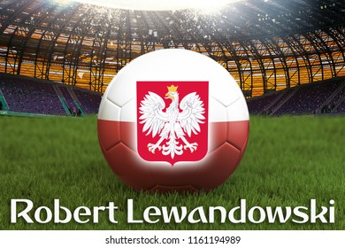 Robert Lewandowski on Poland football team ball on big stadium background. 3d rendering. Poland Team competition concept. Poland flag on ball team tournament. Sport competition on grass background