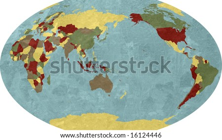 World Map Asia Centered.Robinson World Map Asia Centered Stock Illustration Royalty Free